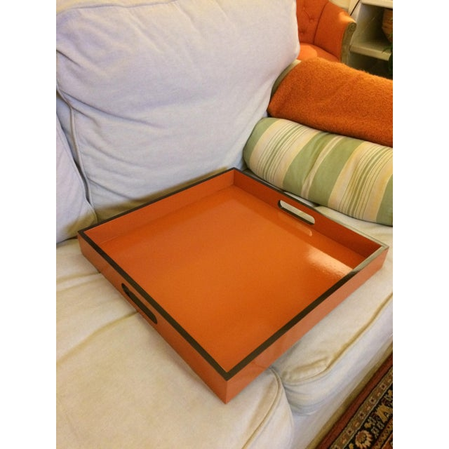 Mid-Century Modern Hermès Inspired Orange Lacquer Tray For Sale - Image 10 of 11
