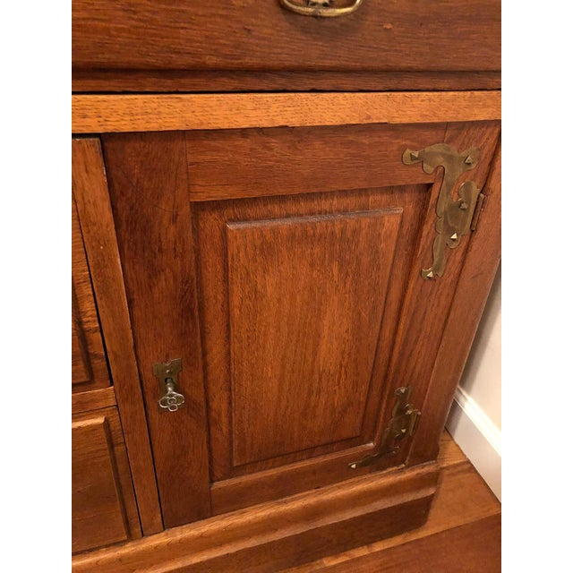 Traditional Antique Victorian Solid Oak Cylinder Roll Top Secretary Desk and Bookcase For Sale - Image 3 of 13