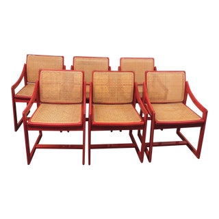 Vintage Red Italian Caned Chairs - Set of 6