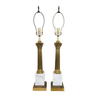 1960s Mid-Century Neoclassical Italian White Marble & Brass Column Lamps - a Pair For Sale
