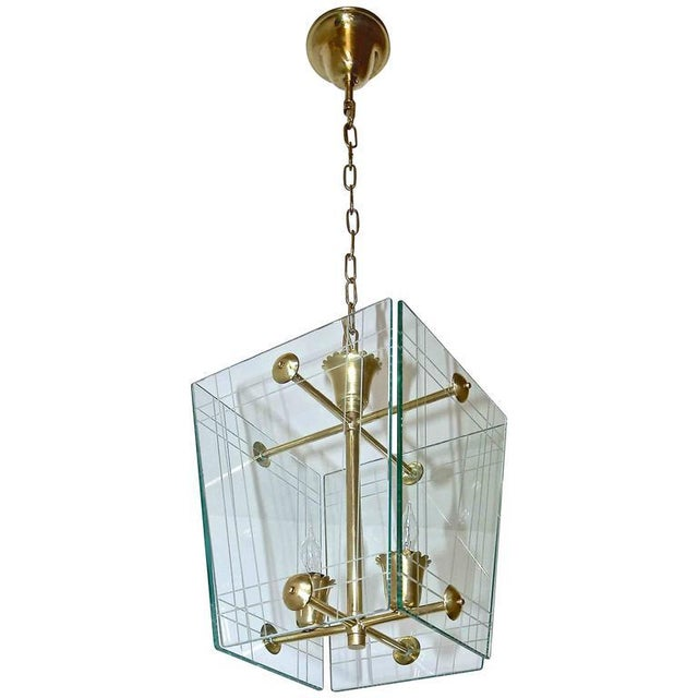 1950s Italian Fontana Arte Style Hall Entry Glass Pendant For Sale - Image 12 of 13