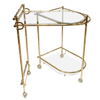 1960s Chippendale Maison Jansen Brass Faux Bamboo Swivel Bar Cart For Sale