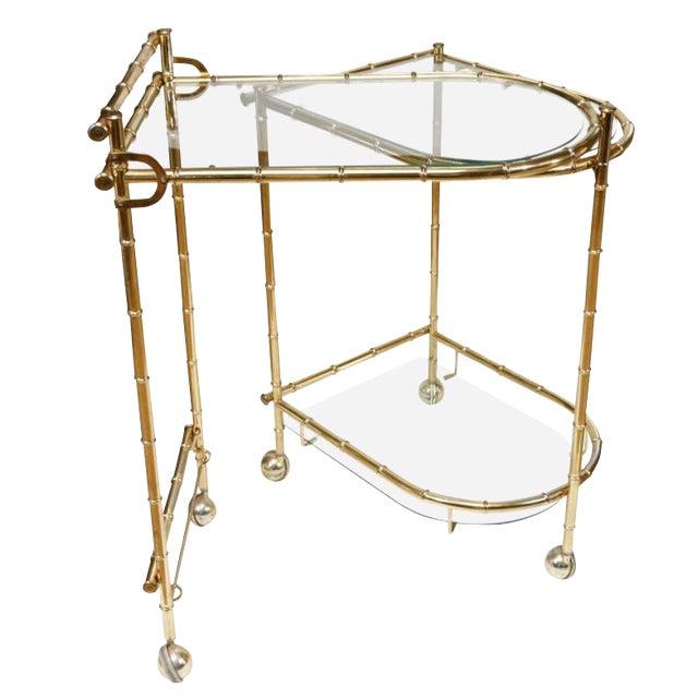 1960s Chippendale Maison Jansen Brass Faux Bamboo Swivel Bar Cart For Sale