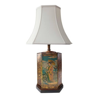 Mid 20th Century Tin Lamp With Asian Scene Motif For Sale