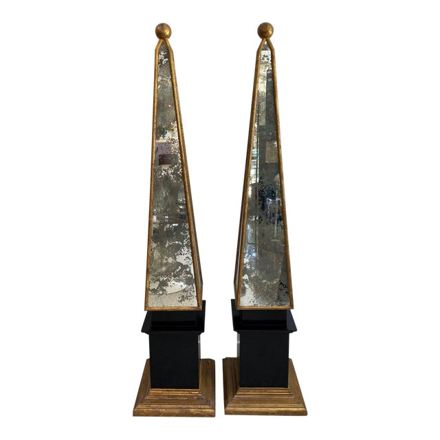 "Vintage Obelisks 73"" Italian Florentine Giltwood and Antiqued Mirror - a Pair For Sale"