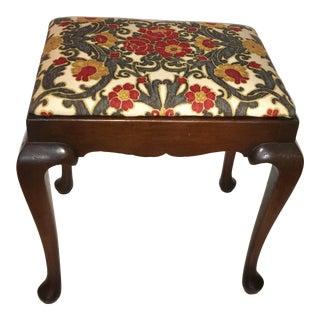 Americana Floral Cushion Mahogany Stool For Sale