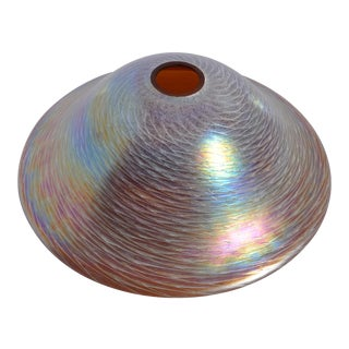 Early 20th Century Art Glass Iridescent Mushroom Lamp Shade, Unsigned For Sale