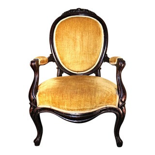 Antique Victorian Salon Upholstered Armchair For Sale