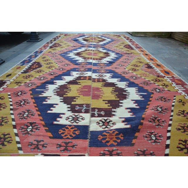 "Vintage Turkish Kilim Rug - 6' X 12'7"" For Sale - Image 4 of 6"