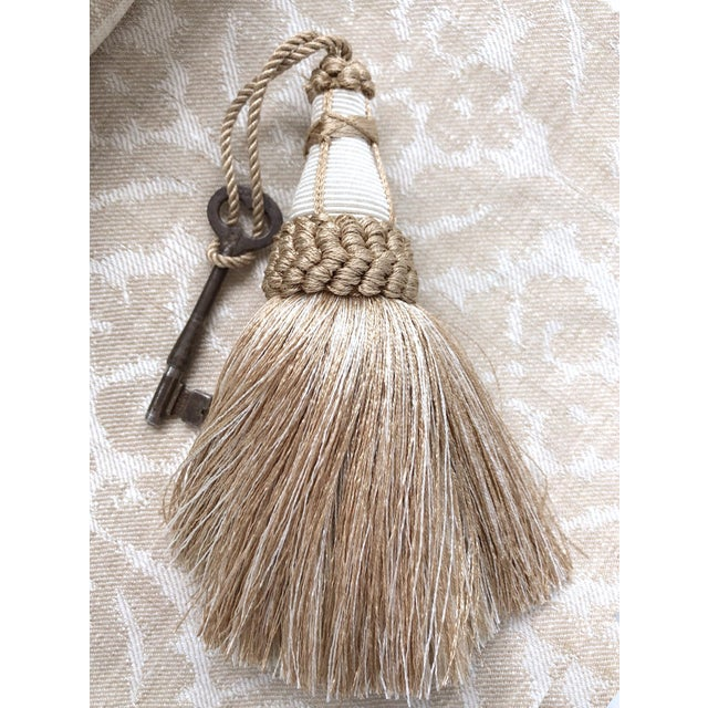 Textile Tan and White Key Tassel With Looped Ruche Trim For Sale - Image 7 of 10