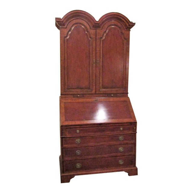 1940s English Traditional Tall Secretaire Cabinet With Slant Front Writing Desk For Sale