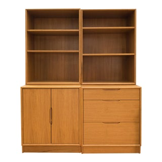 Danish Modern Teak Two Bay Bookshelf Unit