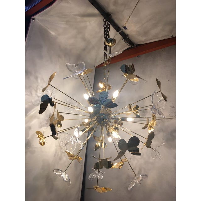 Italian Hand Made Gold 24k Butterfly Sputnik Chandelier For Sale - Image 9 of 13