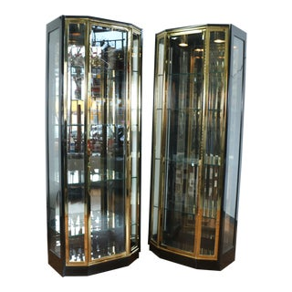 Henredon Pair of Brass Curio Cabinets For Sale