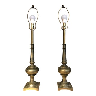 Pair of Modernist Brass Fluted Stiffel Lamps For Sale
