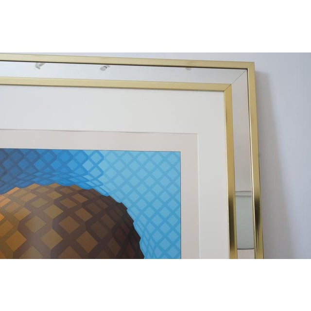 Blue Vintage Vasarely Pencil Signed and Numbered Limited Edition 226/250 Op Art Original Print Custom Mirror Framed For Sale - Image 8 of 12