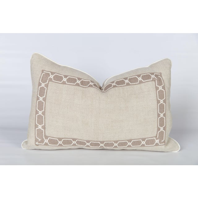 French Provincial Oatmeal Linen Fretwork Lumbar Pillow For Sale - Image 3 of 6