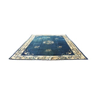 """1930s Chinese Navy Blue & White Art Deco Rug - 11' 6"""" X 9' 1"""" For Sale"""