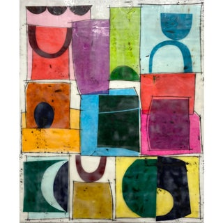 """Original """"Crowded Places"""" Encaustic Collage Painting by Gina Cochran For Sale"""