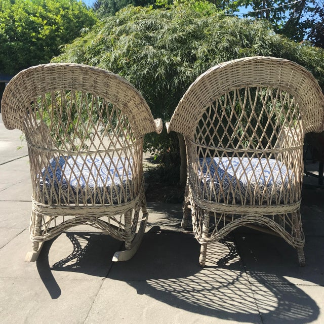 Vintage Wicker Rocker & Chair - a Pair For Sale - Image 4 of 10