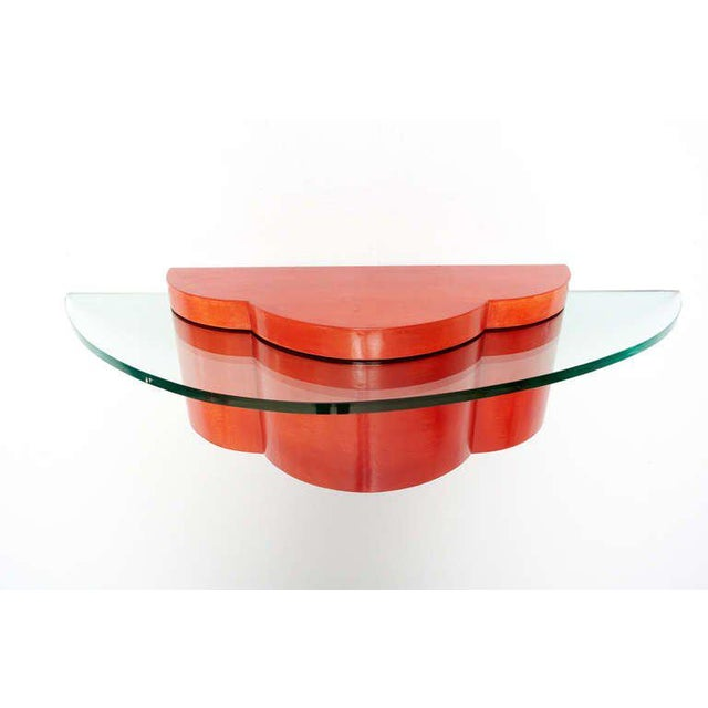 Parchment & Glass Floating Wall Console For Sale In San Diego - Image 6 of 6