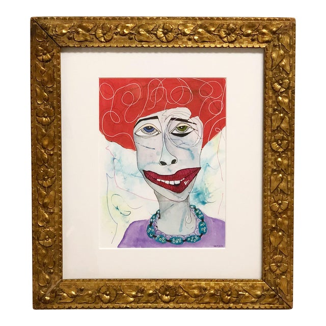 Contemporary Folk Art Portrait Mixed-Media Painting by Robin Thompson, Framed For Sale