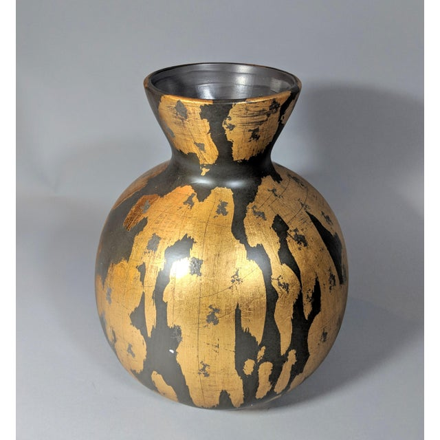 Regency Gold Leaf and Charcoal Gray Vase - Large For Sale In Providence - Image 6 of 9