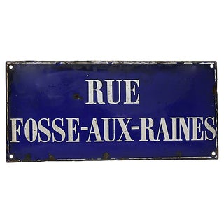 Antique Large French / Belgian Street Sign For Sale