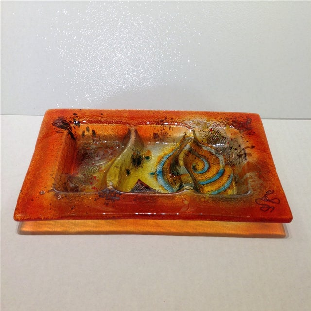 Italian Fused Glass Art Dish For Sale - Image 3 of 10