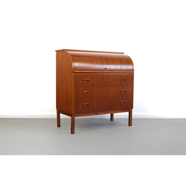 Wood Mid Century Danish Modern Roll Top Secretary Teak Desk Attributed to Egon Ostergaard For Sale - Image 7 of 7