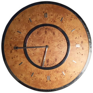 Vintage Chrome and Burl Wall Clock by Raymor For Sale