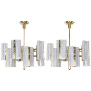 Pair or Single, Large Modernist Ten-Arm Austrian Chandelier, Kalmar For Sale