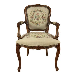 French Style Carved Upholstered Walnut Accent Chair