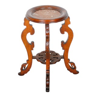 1930s French Gothic Hand-Carved Oak Plant Stand W/ Marble Top For Sale