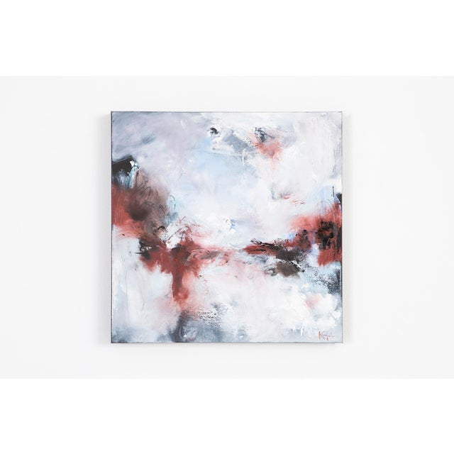 Nicholas Kriefall's paintbrush dances across a bed of soft grays and blues leaving behind a motion-filled trail of red and...