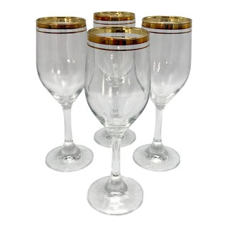 1950s Fostoria Double Gold Ring Wine Glasses - Set of 4 For Sale