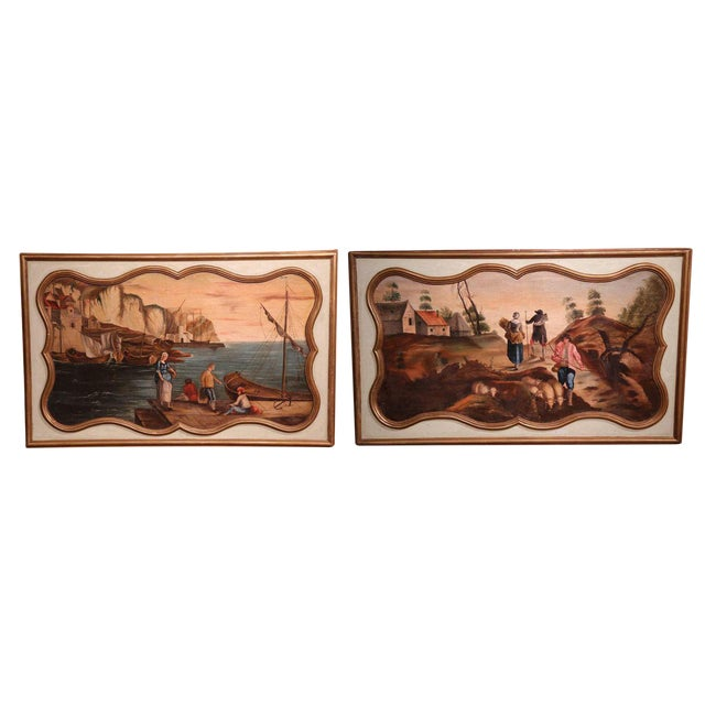 19th Century French Hand Painted Wall Panels With Gilt Accents - a Pair For Sale