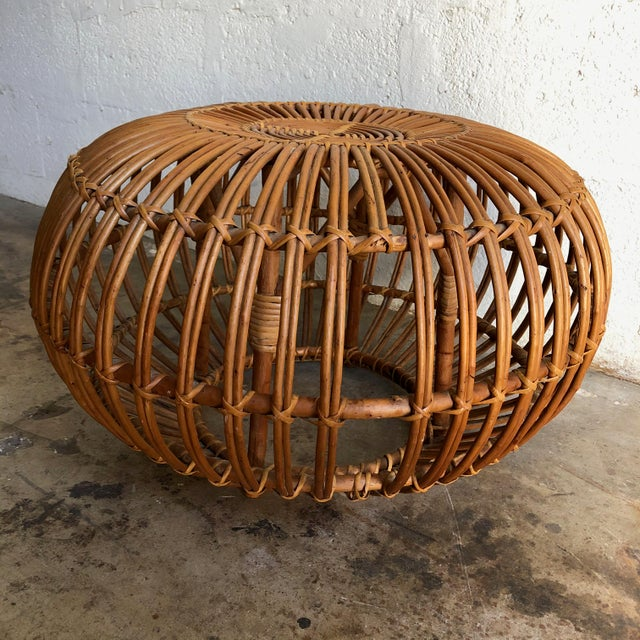 Wicker Iconic Vintage Century Woven Rattan Ottoman Designed by Franco Albini. For Sale - Image 7 of 9