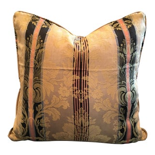 Vintage Silk Damask Fabric Pillow For Sale