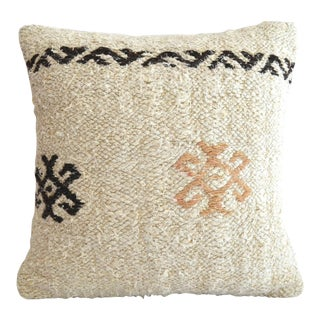 """Hand Woven Throw Pillow Cover. Pure Natural Hepm Kelim Pillow - 16"""" X 16"""" For Sale"""
