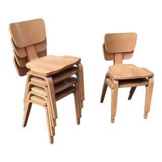 Vintage Joe Atkinson for Thonet Stacking Chairs- Set of 6 For Sale