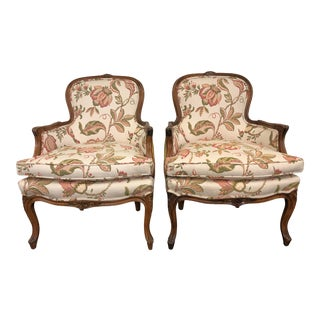 20th Century Louis Style Bergere Chairs- a Pair For Sale