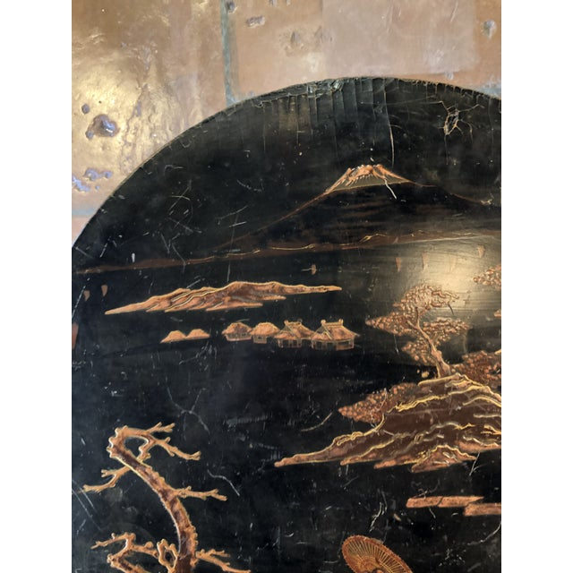 Black Lacquer and Painted Chinoiserie Tilt Top Table For Sale - Image 12 of 13