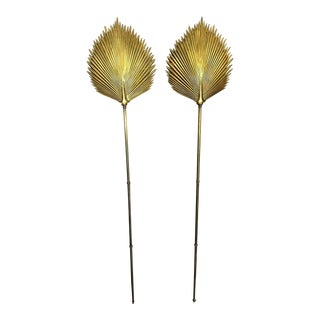 Large Chapman Brass Palm Frond Leave Wall Sconces - A Pair For Sale