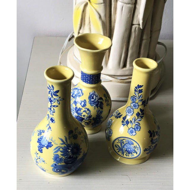 Spode Vintage Blue and Yellow Ceramic Bud Vases- Set of 3 For Sale - Image 10 of 11