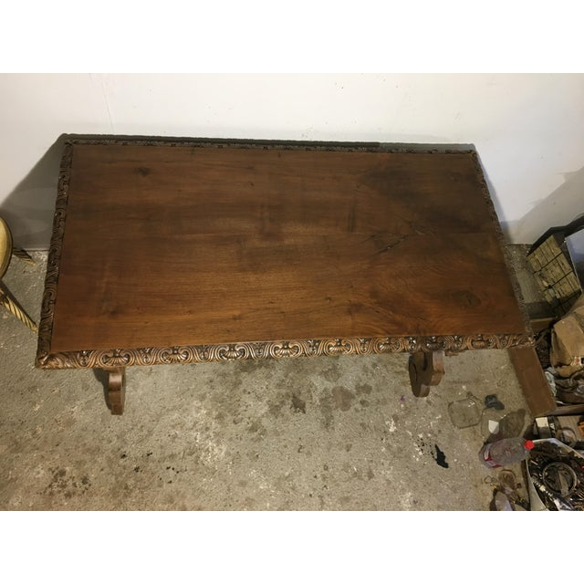 Brown 19th Century Walnut and Wrought Iron Desk with Two Drawers and Lyre Legs For Sale - Image 8 of 12