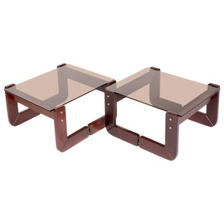 Pair of Percival Lafer Rosewood Side Tables With Smoked Glass 1970s For Sale