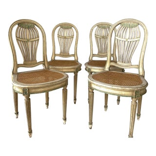 4 Painted Balloon Back Chairs For Sale