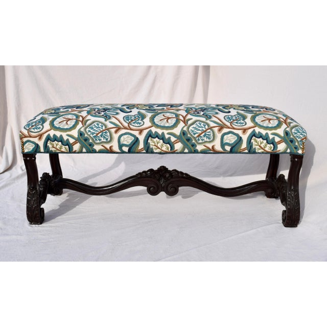 Mid 19th Century Antique American Empire Upholstered Scroll Form Bench For Sale - Image 12 of 12