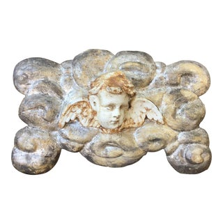 Italian Carved Wood Angel Plaque For Sale